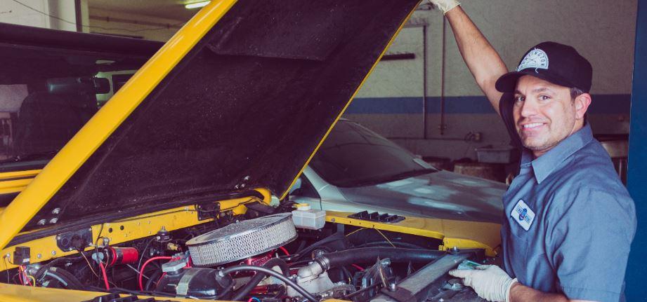Broken car hood