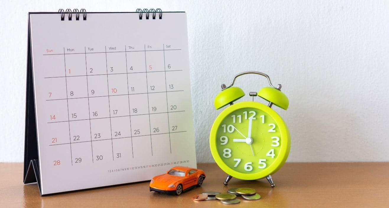 Calendar and green clock