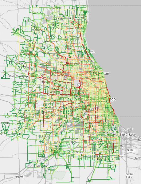 Traffic Patterns in Chicago on map of chicago bad neighborhoods, map of chicago red light districts, map of chicago traffic,